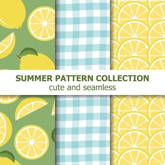 Collection de modèles d'été mignon. thème citron.