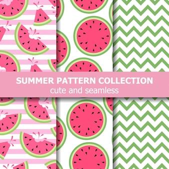 Collection de modèles d'été mignon. thème pastèque. bannière d'été. vecteur