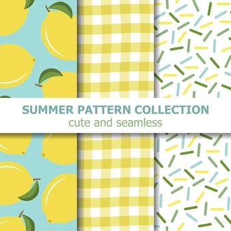 Collection de modèles d'été. thème citron.
