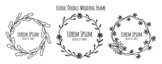 Collection de modèles de fleur floral floral doodle croquis mariage cadre ornement