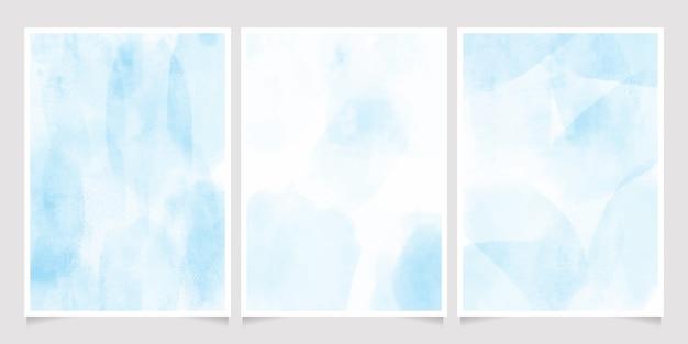 Collection de modèles de fond de carte d'invitation aquarelle splash 5 x 7 bleu