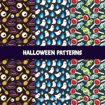 Collection de modèles halloween classique avec un design plat