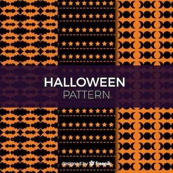 Collection de modèles halloween colorés avec un design géométrique
