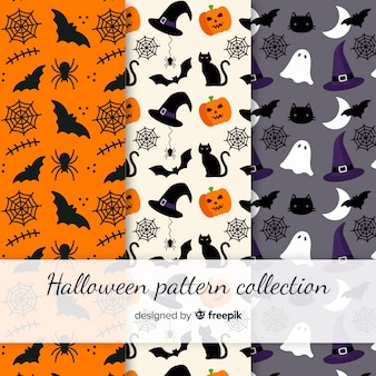 Collection de modèles de halloween colorés avec un design plat