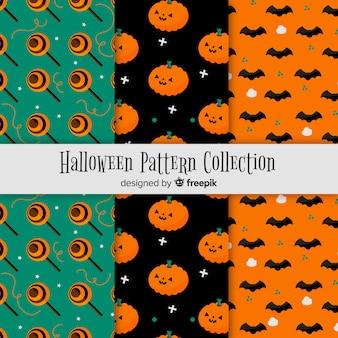 Collection de modèles de halloween colorés avec un design plat
