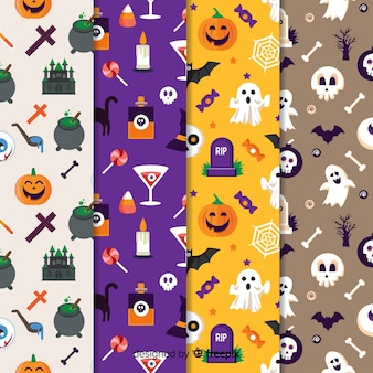 Collection de modèles halloween design plat