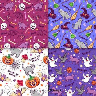 Collection de modèles halloween dessinés à la main sur des nuances de couleurs violettes et violettes