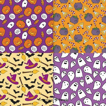 Collection de modèles halloween dessinés à la main