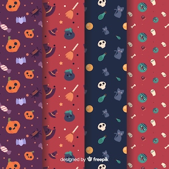 Collection de modèles halloween dessinés à la main