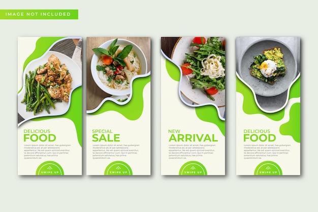 Collection de modèles d'histoires culinaires instagram.