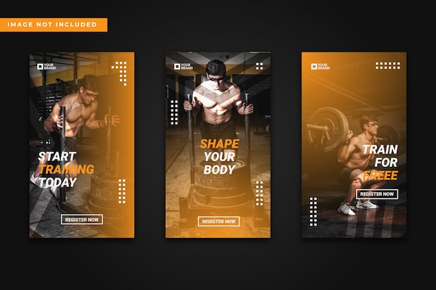 Collection de modèles d'histoires de gym et de fitness instagram
