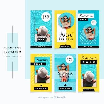 Collection de modèles d'histoires d'instagram de vente d'été
