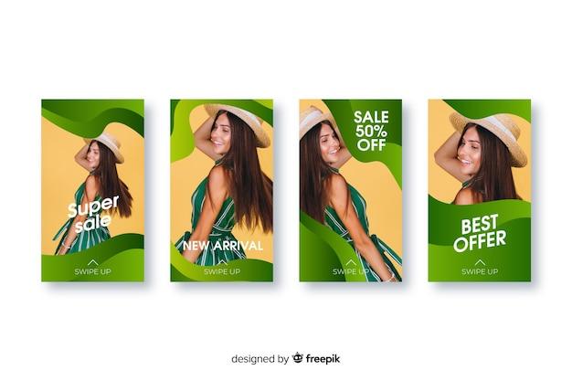Collection de modèles d'histoires de vente instagram