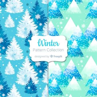 Collection de modèles d'hiver aquarelle