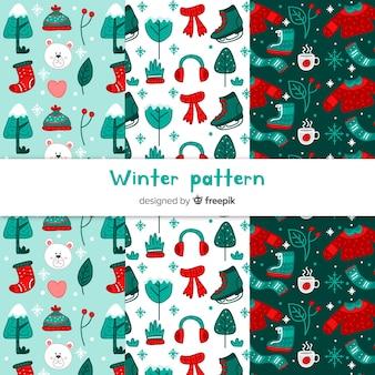 Collection de modèles hiver dessinés à la main belle