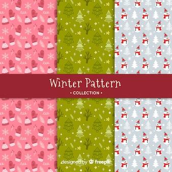 Collection de modèles hiver dessinés à la main