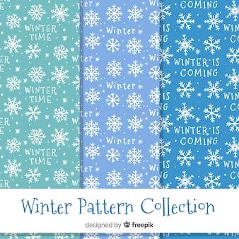 Collection de modèles d'hiver de flocons de neige