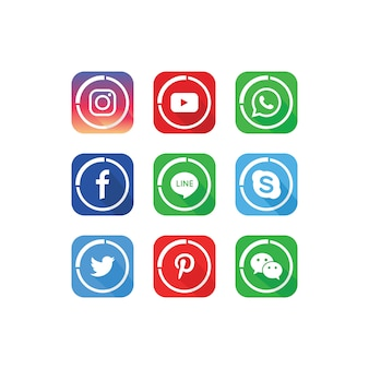 Une collection de modèles d'icônes de médias sociaux populaires