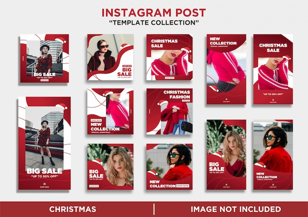 Collection de modèles de joyeux noël d'histoires instagram