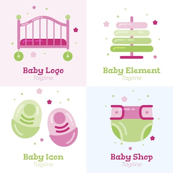 Collection de modèles de logo bébé mignon détaillée