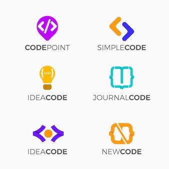 Collection de modèles de logo de code plat