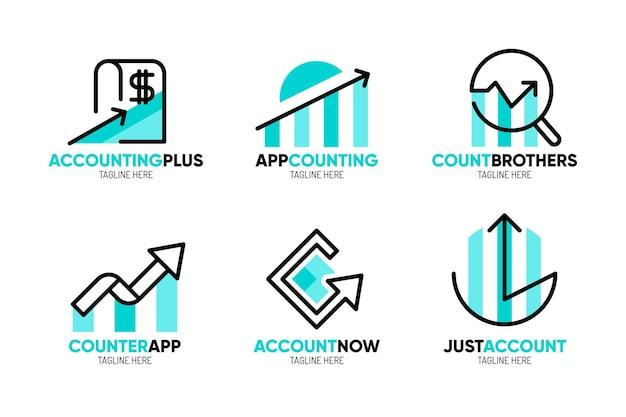 Collection de modèles de logo de comptabilité plate