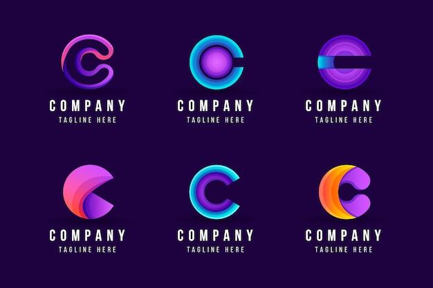 Collection De Modèles De Logo Dégradé C Vecteur gratuit