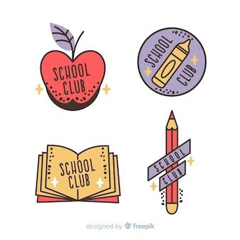 Collection de modèles de logo d'école dessinés à la main