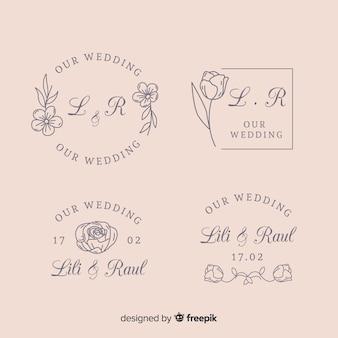 Collection de modèles de logo de fleuriste de mariage