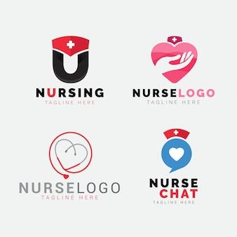 Collection de modèles de logo d'infirmière plate