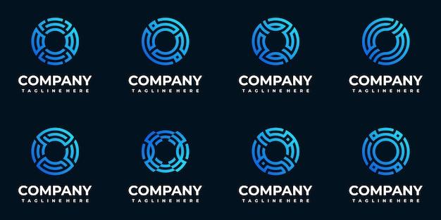 Collection de modèles de logo initial lettre monogramme o