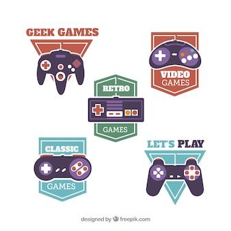 Collection de modèles de logo joystick vintage