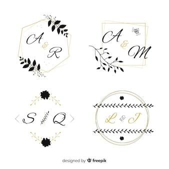 Collection de modèles de logo monogramme de mariage