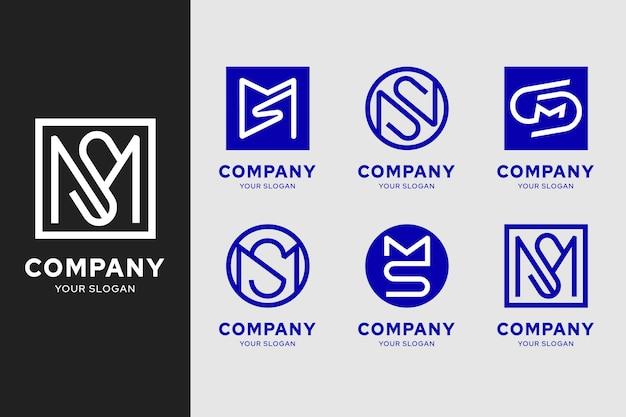 Collection de modèles de logo ms design plat