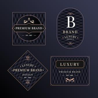 Collection de modèles de logo rétro de luxe