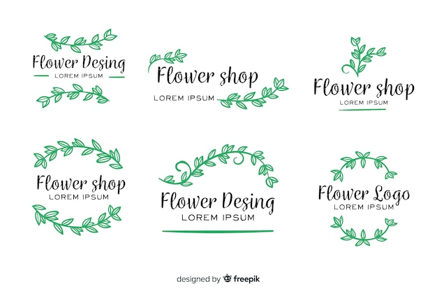 Collection de modèles de logos de fleuriste de mariage