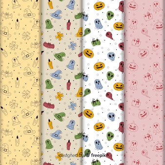 Collection de modèles mignon halloween doodles