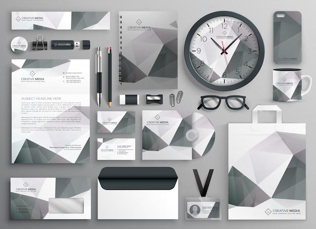 Collection de modèles de papeterie d'affaires abstrait gris