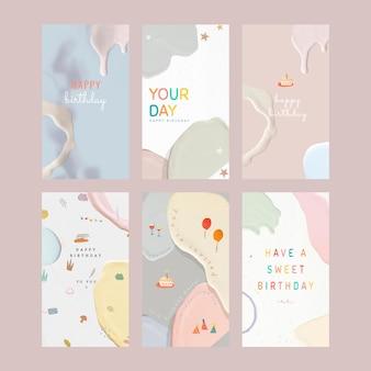 Collection De Modèles Pastel Joyeux Anniversaire Vecteur gratuit