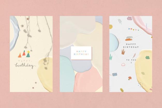 Collection de modèles pastel joyeux anniversaire