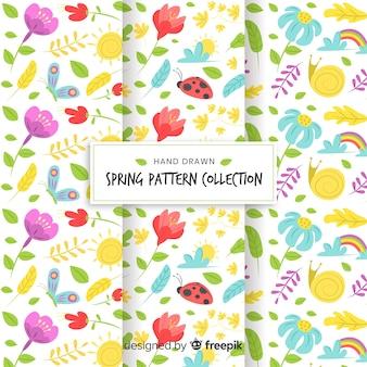 Collection de modèles de printemps dessinés à la main