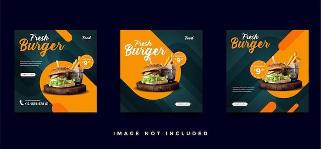 Collection de modèles de promotion des médias sociaux alimentaires et culinaires