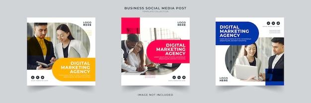 Collection de modèles de publication de médias sociaux d'agence de marketing numérique
