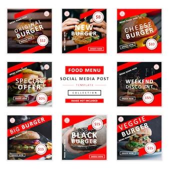 Collection de modèles de publication de médias sociaux menu de nourriture