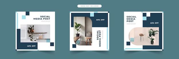 Collection de modèles de publication de médias sociaux de meubles modernes minimalistes