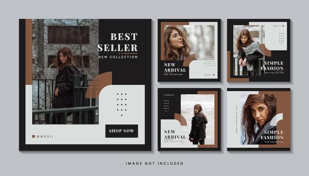 Collection de modèles de publication de médias sociaux minimalistes de mode
