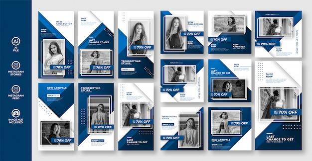 Collection de modèles de publication de médias sociaux de mode bleue