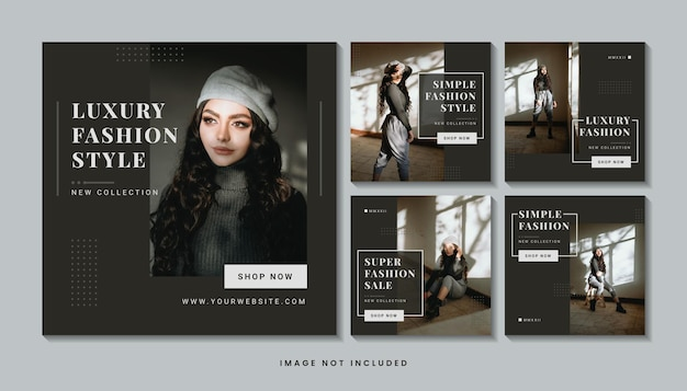 Collection de modèles de publication de médias sociaux de mode moderne