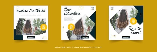 Collection de modèles de publication sur les médias sociaux pour la vente de voyages