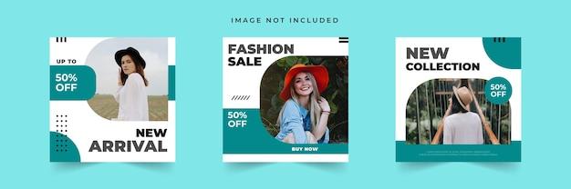 Collection de modèles de publication de médias sociaux de vente de mode